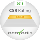 Logo from EcoVadis CSR Ratings, Gold 2018.