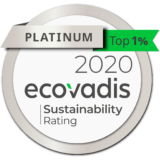 Logo from EcoVadis CSR Ratings, Gold 2019.